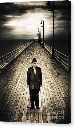 Senior Male Standing On A Pier Promenade Canvas Print by Jorgo Photography - Wall Art Gallery