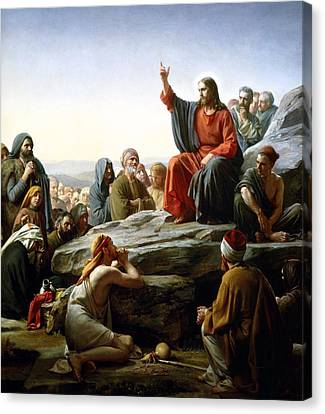 Sermon On The Mount Canvas Print by Carl Bloch