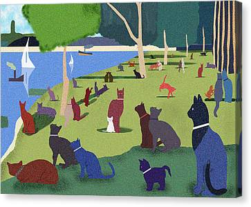 Seurat's Cats Canvas Print by Clare Higgins