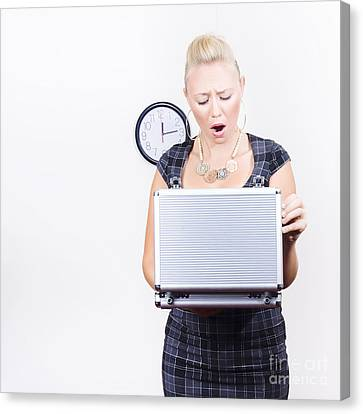Shocked Accounting Employee Holding Open Briefcase Canvas Print by Jorgo Photography - Wall Art Gallery
