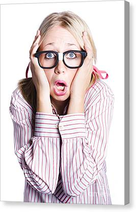Shocked Business Woman On White Canvas Print by Jorgo Photography - Wall Art Gallery