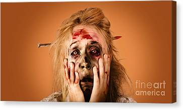 Shocked Horror Halloween Zombie With Hands Face Canvas Print by Jorgo Photography - Wall Art Gallery