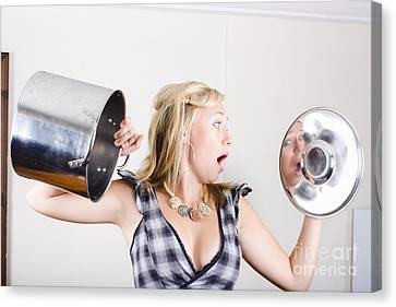 Shocked Woman Out Of Cooking Ingredients Canvas Print by Jorgo Photography - Wall Art Gallery