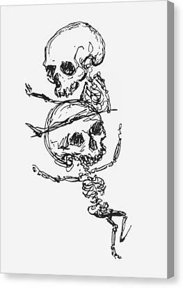 Skeletons, Illustration From Complainte De Loubli Et Des Morts Canvas Print by Jules Laforgue