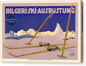 Ski Austria 1910 Canvas Print by Mountain Dreams