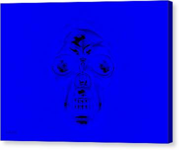 Skull In Blue Canvas Print by Rob Hans