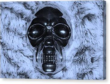 Skull In Cyan Canvas Print by Rob Hans