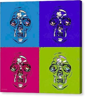 Skulls In Quad Colors Canvas Print by Rob Hans