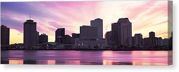 Skyscrapers At The Waterfront, River Canvas Print by Panoramic Images