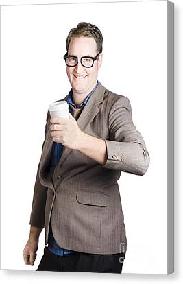 Smiling Business Man With Coffee Drink. Work Break Canvas Print by Jorgo Photography - Wall Art Gallery