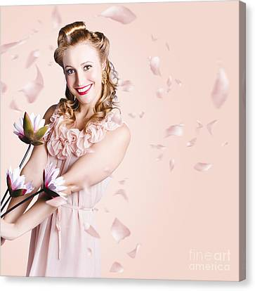 Smiling Flower Girl Dancing In Spring Petal Rain Canvas Print by Jorgo Photography - Wall Art Gallery