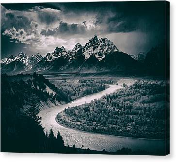Snake River In The Tetons - 1930s Canvas Print by Mountain Dreams