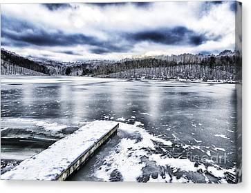 Snow Big Ditch Lake Canvas Print by Thomas R Fletcher
