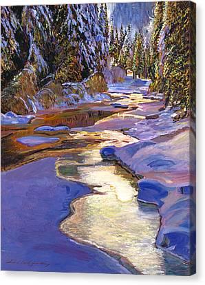 Snowy Creek Canvas Print by David Lloyd Glover