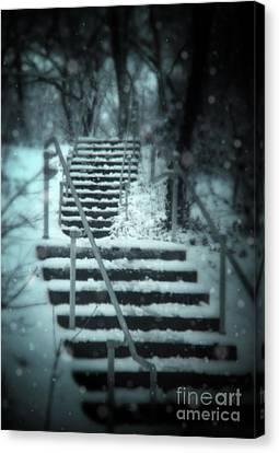 Snowy Stairway Canvas Print by Jill Battaglia