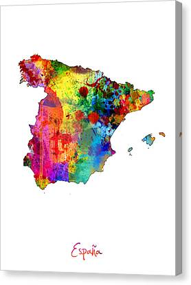 Spain Watercolor Map Canvas Print by Michael Tompsett