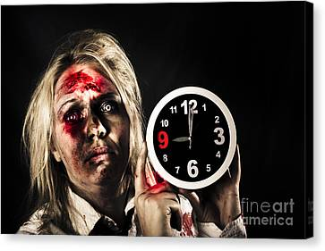 Spooky Monster With Alarm Clock. Belated Departure Canvas Print by Jorgo Photography - Wall Art Gallery
