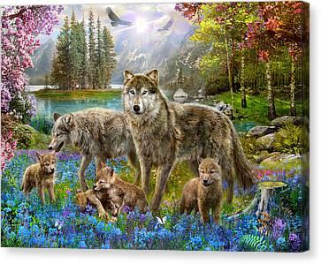 Spring Wolf Family Canvas Print by Jan Patrik Krasny