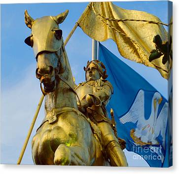 St Joan Of Arc Statue Canvas Print by Alys Caviness-Gober