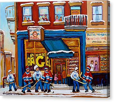 St. Viateur Bagel With Hockey Canvas Print by Carole Spandau