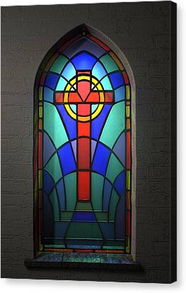Stained Glass Window Crucifix Canvas Print by Allan Swart