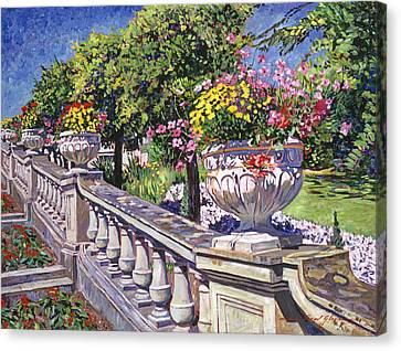 Stairway Of Urns Canvas Print by David Lloyd Glover