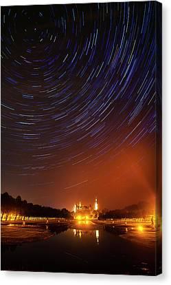 Star Trails Over Schwerin Palace Canvas Print by Babak Tafreshi