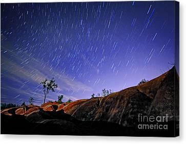 Star Trails Over Badlands Canvas Print by Charline Xia