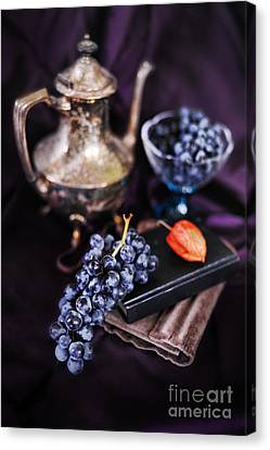 Still Life With Grapes And Silver Teapot Canvas Print by HD Connelly
