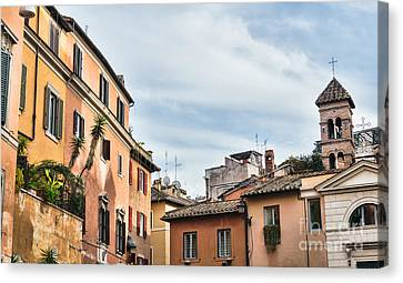 Street Scene From Trastevere District Of Rome Canvas Print by Frank Bach