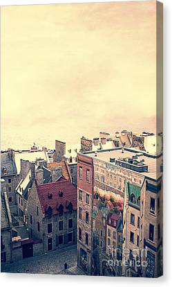 Streets Of Old Quebec City Canvas Print by Edward Fielding