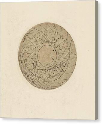 Study Of Water Wheel From Atlantic Codex Canvas Print by Leonardo Da Vinci