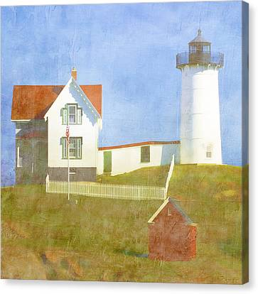 Sunny Day At Nubble Lighthouse Canvas Print by Carol Leigh