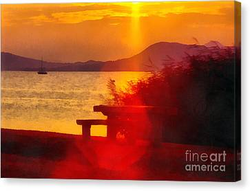 Sunrise In The Balaton Lake Canvas Print by Odon Czintos