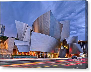 Sunset At The Walt Disney Concert Hall In Downtown Los Angeles. Canvas Print by Jamie Pham