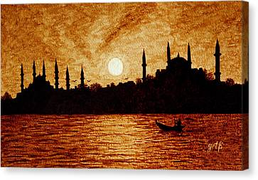 Sunset Over Istanbul Original Coffee Painting Canvas Print by Georgeta  Blanaru