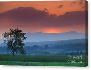 Sunset Over Mt. Mansfield In Stowe Vermont Canvas Print by Don Landwehrle