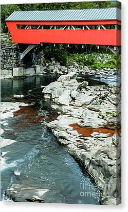 Taftsville Covered Bridge Vermont Canvas Print by Edward Fielding
