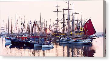 Tall Ship In Douarnenez Harbor Canvas Print by Panoramic Images