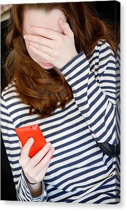 Teenage Cyberbullying Canvas Print by Aj Photo