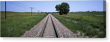 Telephone Poles Along A Railroad Track Canvas Print by Panoramic Images