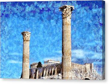Temple Of Olympian Zeus And Acropolis Canvas Print by George Atsametakis