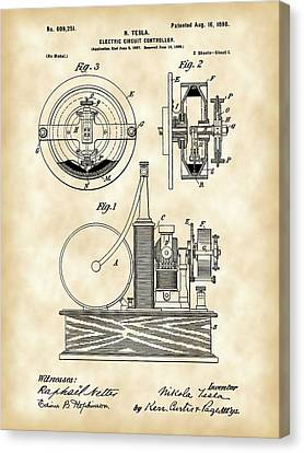 Tesla Electric Circuit Controller Patent 1897 - Vintage Canvas Print by Stephen Younts