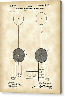 Tesla Electric Transmission Patent 1900 - Vintage Canvas Print by Stephen Younts