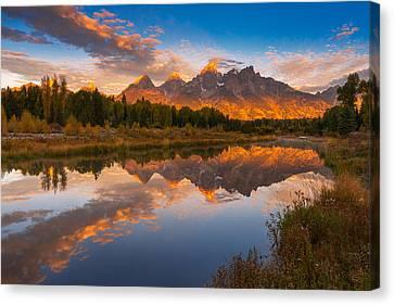 Teton Morning Mirror Canvas Print by Joseph Rossbach