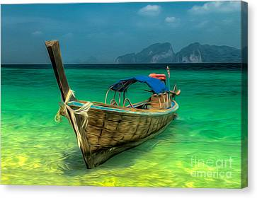 Thai Longboat Canvas Print by Adrian Evans