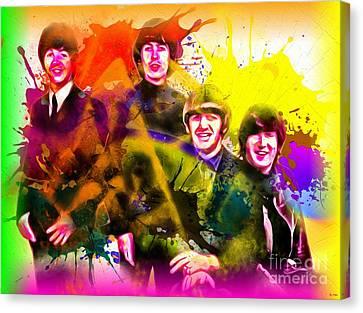 The Beatles Grunge Canvas Print by Daniel Janda