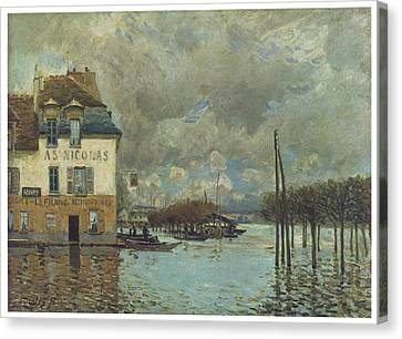 The Flood At Port-marly Canvas Print by Alfred Sisley
