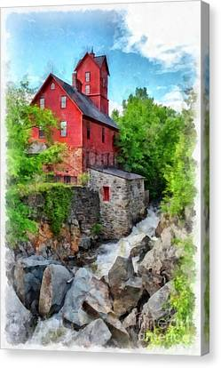 The Old Red Mill Jericho Vermont Canvas Print by Edward Fielding
