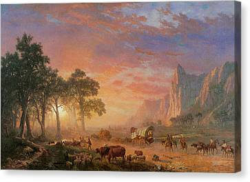 The Oregon Trail Canvas Print by Albert Bierstadt